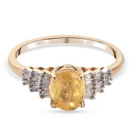 Chanthaburi Yellow Sapphire and Diamond Ring in 14K Gold Overlay Sterling Silver 1.20 Ct.