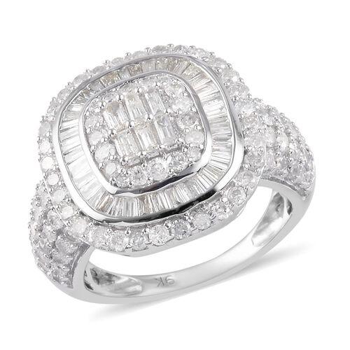 9K White Gold SGL Certified Diamond (I3-GH) Diamond Cluster Ring 2.00 Ct, Gold wt. 5.00 Gms