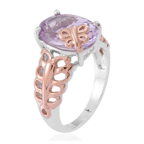 Rose De France Amethyst (Ovl) Solitaire Ring in Rhodium Plated and Rose Gold Overlay Sterling Silver 5.250 Ct.
