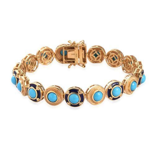AA Arizona Sleeping Beauty Turquoise Enamelled Bracelet (Size 7) in 14K Gold Overlay Sterling Silver