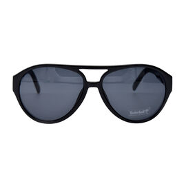 TIMBERLAND Black Aviator Sunglasses with Grey Lenses
