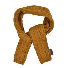 Aran 100% Pure New Wool Irish Scarf in Mustard Colour (One Size 150 x 20 cm)