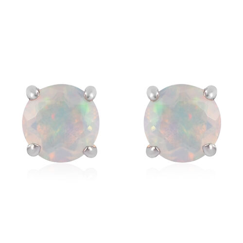 AA Ethiopian Welo Opal Earrings (with Push Back) in Platinum Overlay Sterling Silver 0.65 Ct.