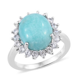 5.5 Ct Natural Peruvian Amazonite and Natural Cambodian Zircon Halo Ring in Sterling Silver