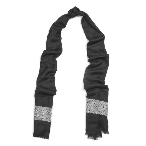 Black Colour Scarf with Embroidery (Size 180x70 Cm)