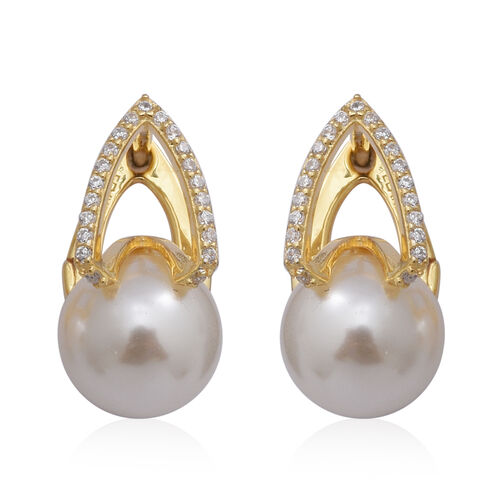 Simulated White Pearl and Simulated Diamond Hoop Earrings in Yellow Gold Overlay Sterling Silver