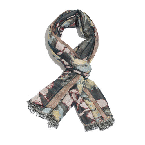 Dark Green and Multi Colour Floral Pattern Scarf with Fringes (Size 180x70 Cm)