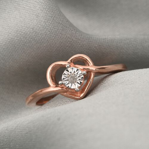 Diamond Heart Ring in Rose Gold Overlay Sterling Silver