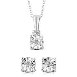 Diamond (Rnd) Stud Earrings (With Push Back) and Pendant With Chain Set in Platinum Overlay Sterling Silver