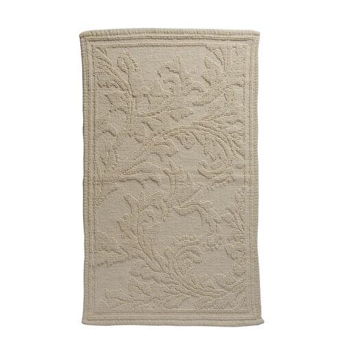 Bath Collection - 100% Cotton Beige Colour Floral Design Sculpted Bath Mat (Size 80X50 Cm)