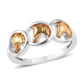 Platinum and Yellow Gold Overlay Sterling Silver Horseshoe with Center Horse Ring