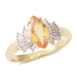 Extremely Rare 1.29 Ct Chanthaburi Yellow Sapphire and Diamond Ring in 18K yellow gold