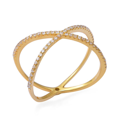 ELANZA Simulated Diamond Criss Cross Ring in Yellow Gold Overlay Sterling Silver