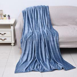 Microfibre Flannel Embossed Pattern Blanket (Size 150x200 Cm) - Blue