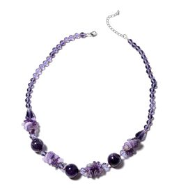 Amethyst and Purple Beads Necklace (Size 20 with 3 inch Extender) in Silver Plated 110.001 Ct.