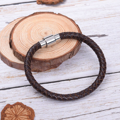 Genuine Braided Leather Bracelet (Size 7) in Stainless Steel - Brown