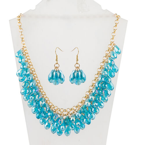 Set of 2- Simulated Neon Apatite Necklace and Hook Earrings in Gold Bond.