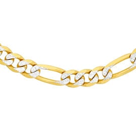 One Time Deal- 9K Yellow and White Gold Figaro Necklace (Size 24), Gold wt 8.00 Gms