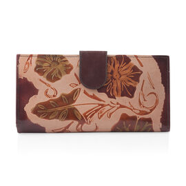 100% Genuine Leather Brown Colour Handpainted Autumn Leaves Pattern Wallet with RFID Blocking (Size 22.75x11.5x3 Cm)