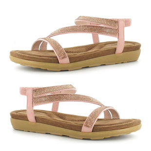 ELLA Joanna Ladies Diamante Sandal with Elasticated Strap in Pink