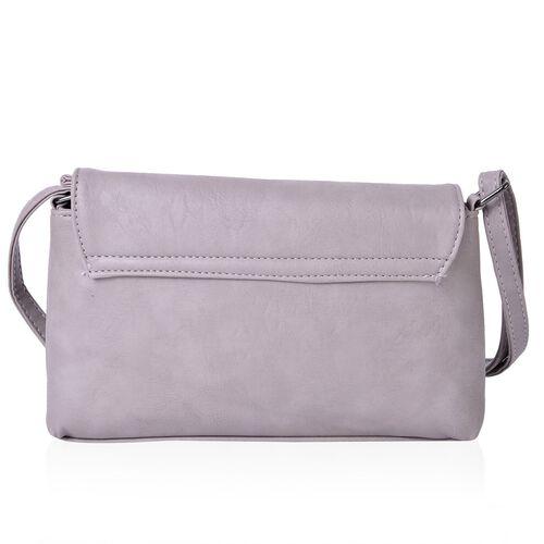 Horsebit Embellished Light Grey Colour Crossbody Bag with Adjustable Shoulder Strap (Size 23X16X5.5 Cm)