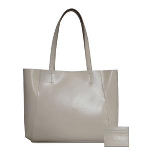 ASSOTS LONDON 2 Piece Set - ADELA Genuine Smooth Leather Tote Bag (31x9.5x26.5cm) & Matching RFID FANN Cardholder (10x8cm) - Cream