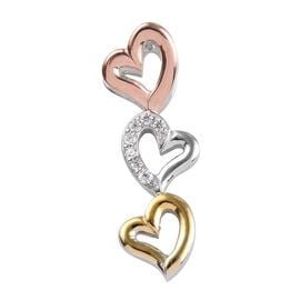 J Francis - Platinum, Yellow and Rose Gold Overlay Sterling Silver (Rnd) Three Heart Pendant Made wi