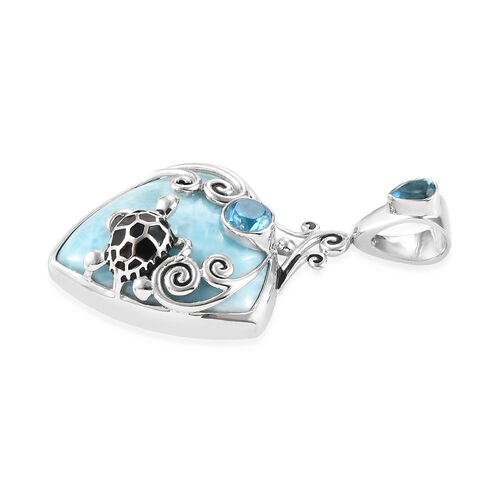 Sajen Silver - Larimar and Celestial Swiss Blue Doublet Quartz Enamelled Turtle Pendant in Sterling Silver 17.45 Ct.
