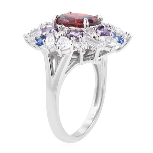 Lustro Stella Simulated Red Diamond (Ovl), Simulated Diamond, Simulated Amethyst and Simulated Blue Spinel Ring in Rhodium Overlay Sterling Silver