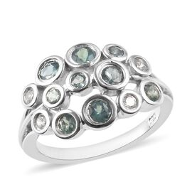 Narsipatnam Alexandrite (Rnd), Natural Cambodian Zircon Cluster Ring in Platinum Overlay Sterling Si