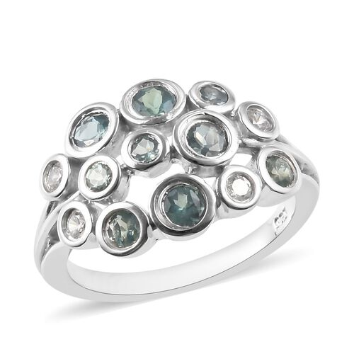 0.85 Ct Narsipatnam Alexandrite and Zircon Cluster Ring in Platinum Plated Sterling Silver