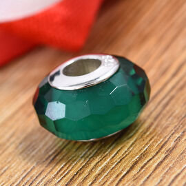 Charmes De Memoire Turquoise Green Murano Style Glass Bead Charm in Platinum Plated Sterling Silver