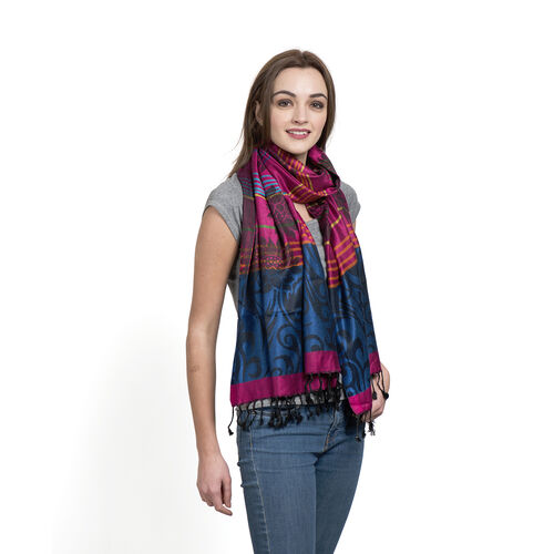 Pink, Black and Multi Colour Jacquard Pattern Scarf with Tassels (Size 190x70 Cm)