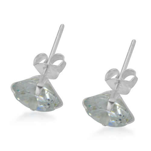 ELANZA Cubic Zirconia  (Rnd 8mm) Solitaire Stud Earrings (with Push Back) in Sterling Silver
