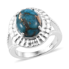 Mojave Blue Turquoise (Ovl 11x9 mm) Ring in Sterling Silver 3.500  Ct.