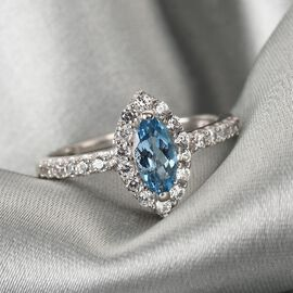 Santamaria Aquamarine and Natural Cambodian Zircon Ring in Platinum Overlay Sterling Silver 1.07 Ct.