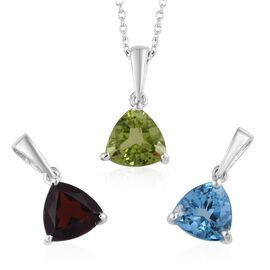 Blue Topaz (1.40 Ct),Chinese Peridot,Mozambique Garnet Platinum Overlay Sterling Silver 3 Pcs Pendan