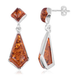 Amber Drop Earrings in Rhodium Plated Sterling Silver