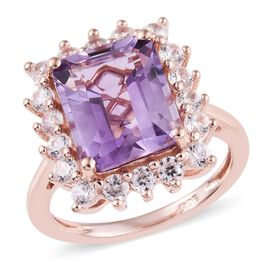 Rose De France Amethyst (Oct 11x9 mm), Natural Cambodian Zircon Ring in Rose Gold Overlay Sterling S