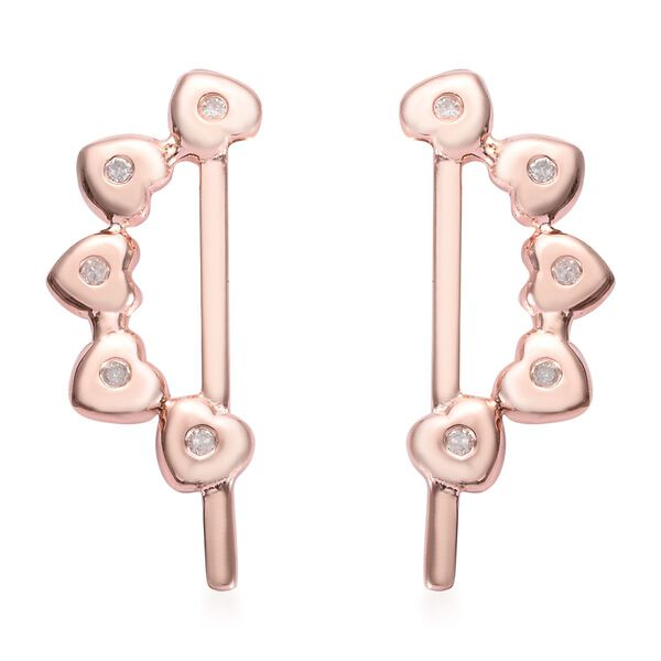 Diamond Heart Climber Earrings (with Push Back) in Rose Gold Overlay Sterling Silver