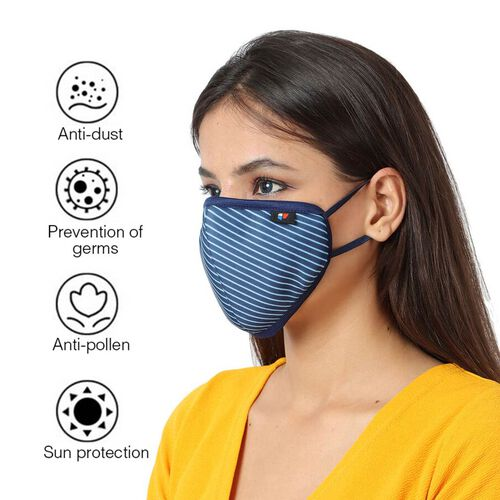 6 Layer Stripe Pattern Reusable Face Covering (One Size) - Blue