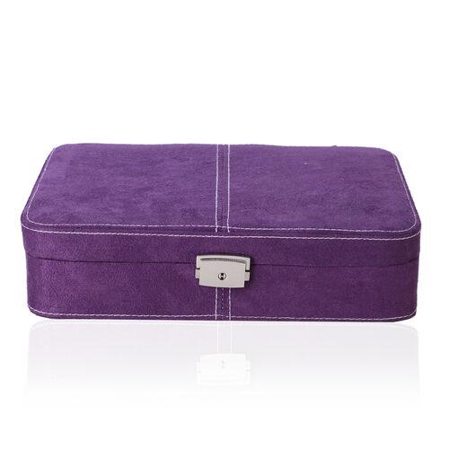 Purple Velvet Jewellery Box With Multi-Compartment Mirror Inside (Size 27x19x6.5 Cm)