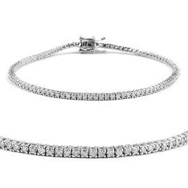 14K White Gold Diamond (Rnd) (I2 / G-H) Bracelet (Size 7) 1.000 Ct, Number of Diamonds 102