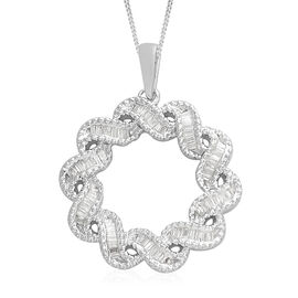 0.33 Carat Diamond Cluster Circle Pendant with Chain in Platinum Plated Sterling Silver 5.02 Grams