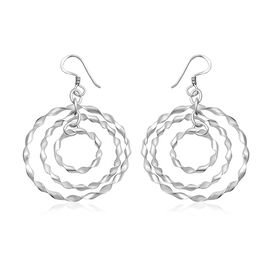 Sterling Silver Multi Hoop Dangle Hook Earrings, Silver wt 4.19 Gms.