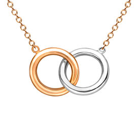 9K White and Rose Gold Interlocked Ring Necklace (Size 18).