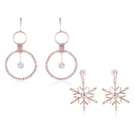 2 Pairs - White Austrian Crystal (Rnd), Simulated Diamond Earrings (with Push Back) in Rose Plated