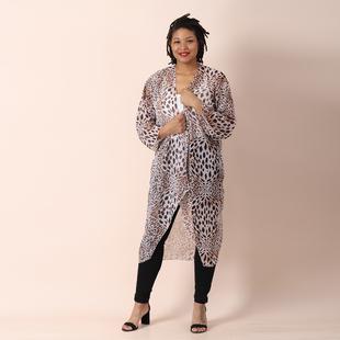 JOVIE Leopard Pattern Chiffon Long Cardigan (Size 117x56cm) - Brown