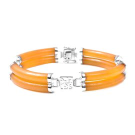 Honey Jade and Citrine Station Bracelet in Rhodium Plated Silver 7.5 Inch