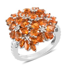 2.50 Ct Jalisco Fire Opal and Zircon Cluster Floral Ring in Platinum Plated Silver